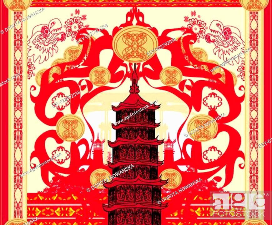 Stock Photo: decorative card with abstraction Asian building.