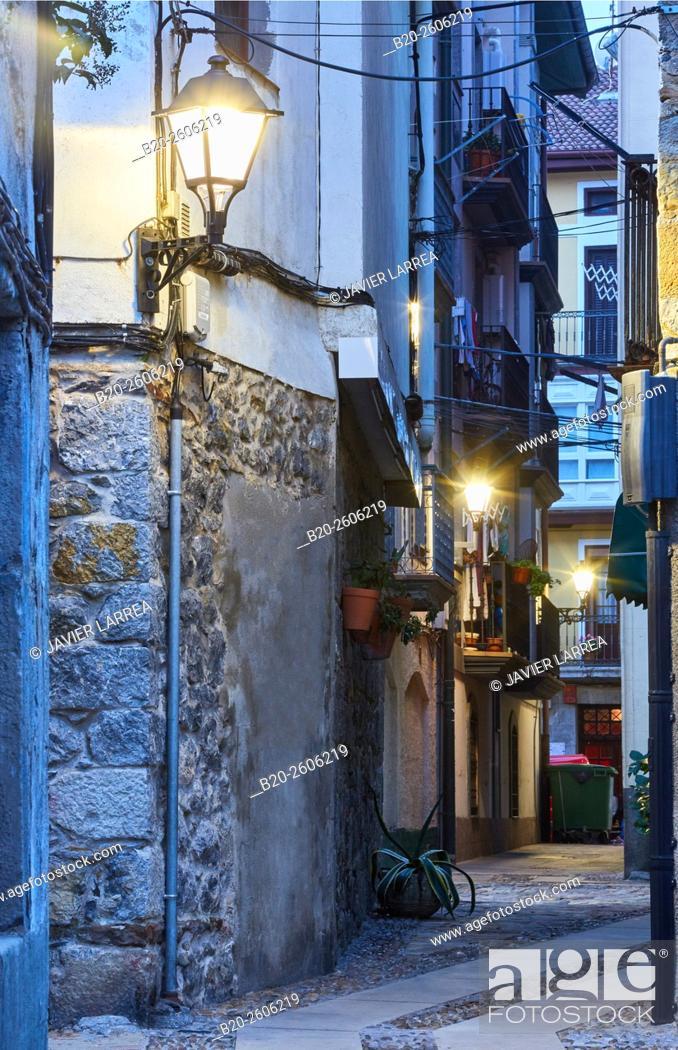 Stock Photo: Streetlamp, exterior lighting, Mundaka. Bizkaia. Basque Country. Spain.