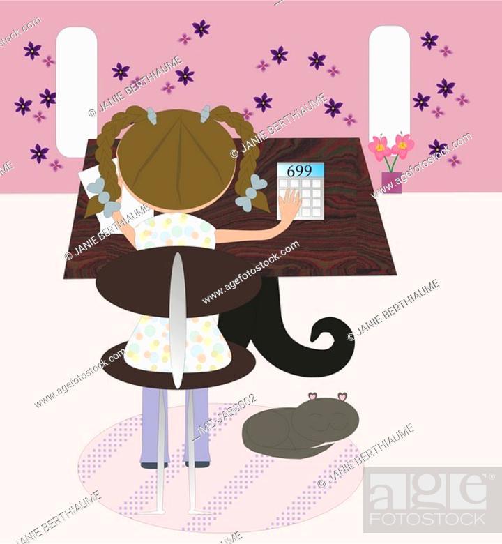 Stock Photo: A little girl using a calculator.