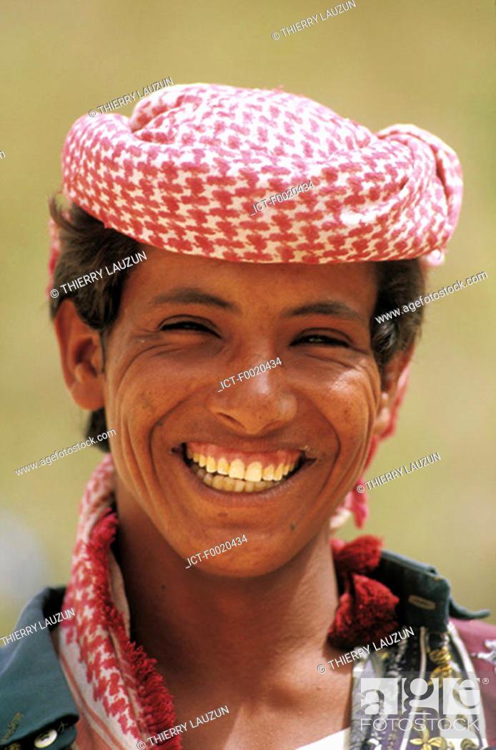 Stock Photo: Yemen, Wadi Do'an, young man portrait.