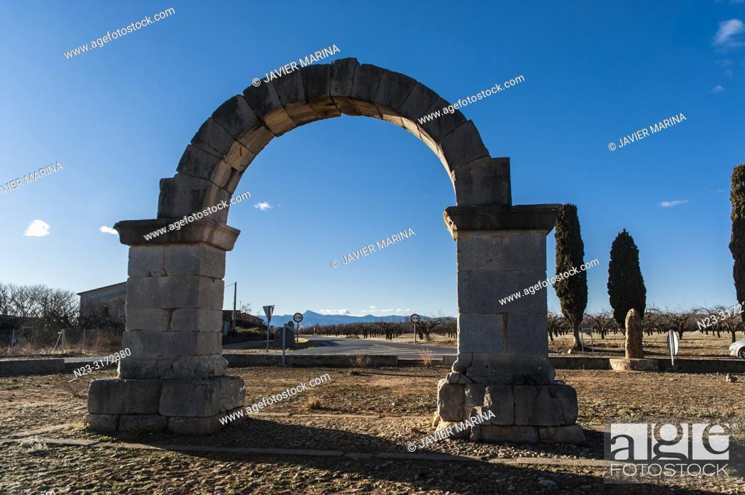 Stock Photo: Roman Arch, Cabanes, Castellón, Spain.