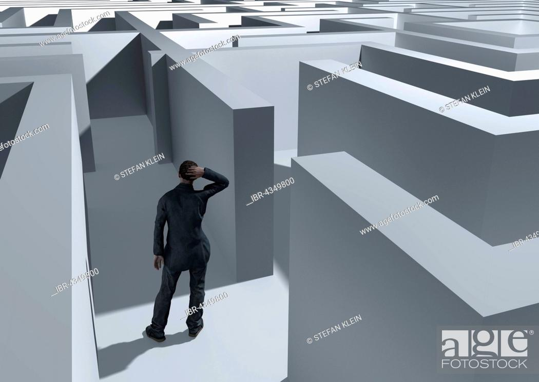 Stock Photo: Man in the labyrinth, symbolic image, computer graphics.