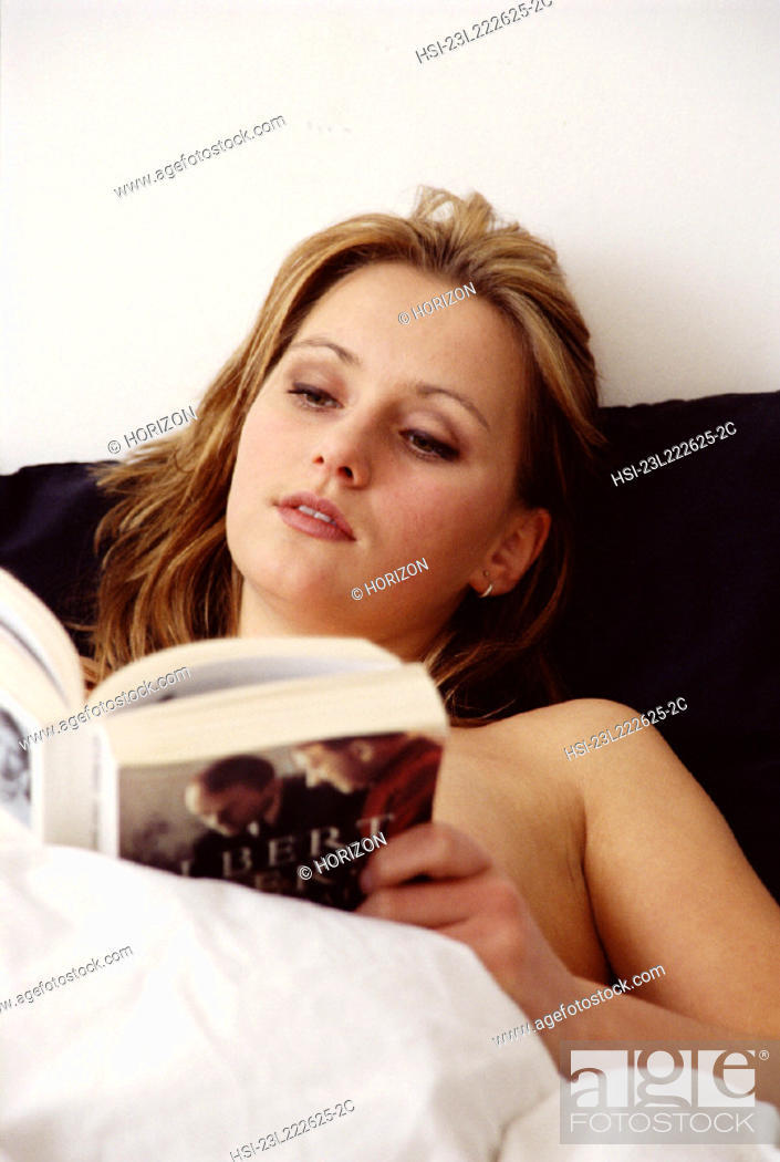 Stock Photo: People, Woman, Bed, Book, Morning, Bedroom, Reading, Lie In, Hsi