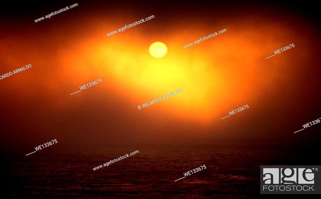 Stock Photo: Sunset at Big Sur, California.