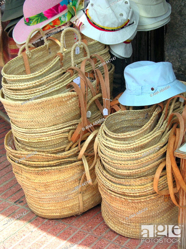 Stock Photo: Baskets for sale.