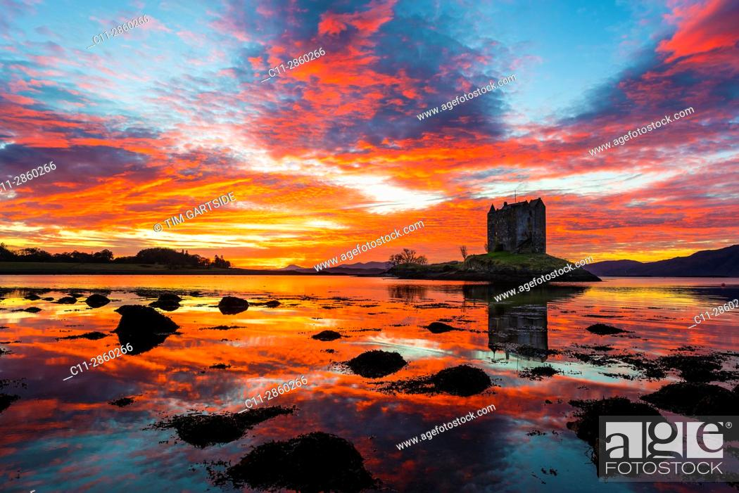 Stock Photo: Castle Stalker, Scottish Castle, Loch Laich, Loch Linnhe, Argyll and Bute, Scotland, uk.