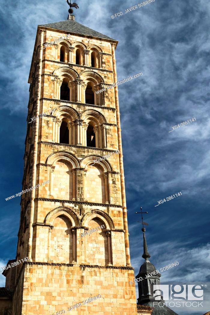 Stock Photo: Bell tower of the Romanesque church of San Esteban - XIII Century - Segovia - Castilla-León - Spain - Europe.