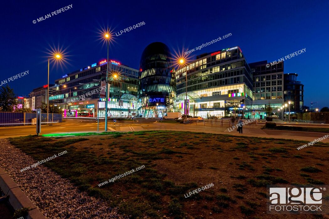 Stock Photo: Eurovea, shopping center, Bratislava, Slovakia, night.