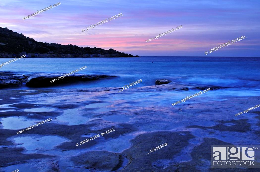 Stock Photo: Gnejna Bay at sunset, Mgarr, Malta, Europe, november 2009.