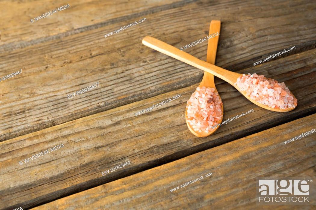 Stock Photo: Himalayan salt in spoon.