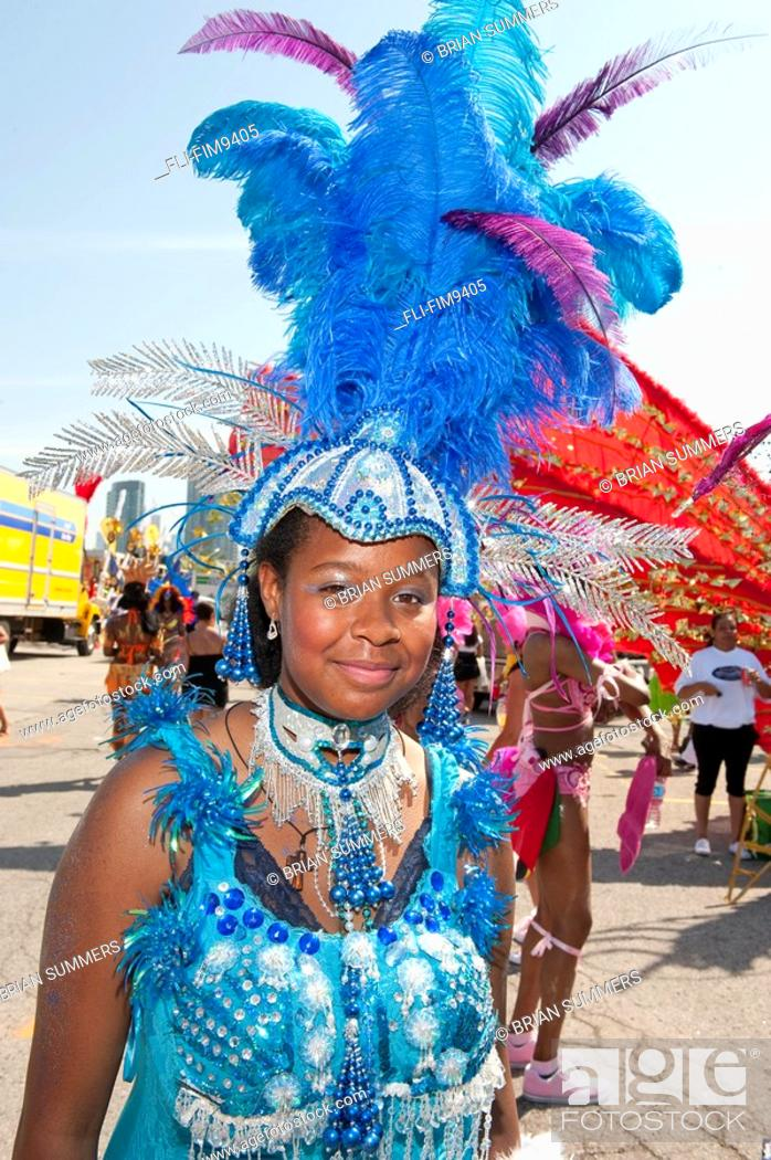 Stock Photo: Young girl in costume for the Caribana Festival Parade, Toronto, Ontario.