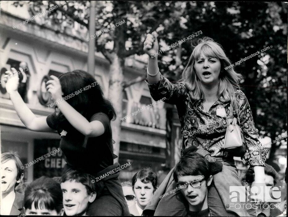 Imagen: May 05, 1968 - Over 200, 000 Workers Demonstrates In Paris Some 200, 000 CGT workers (Communist-led General Labour Confederation) marched from the Bastille to.