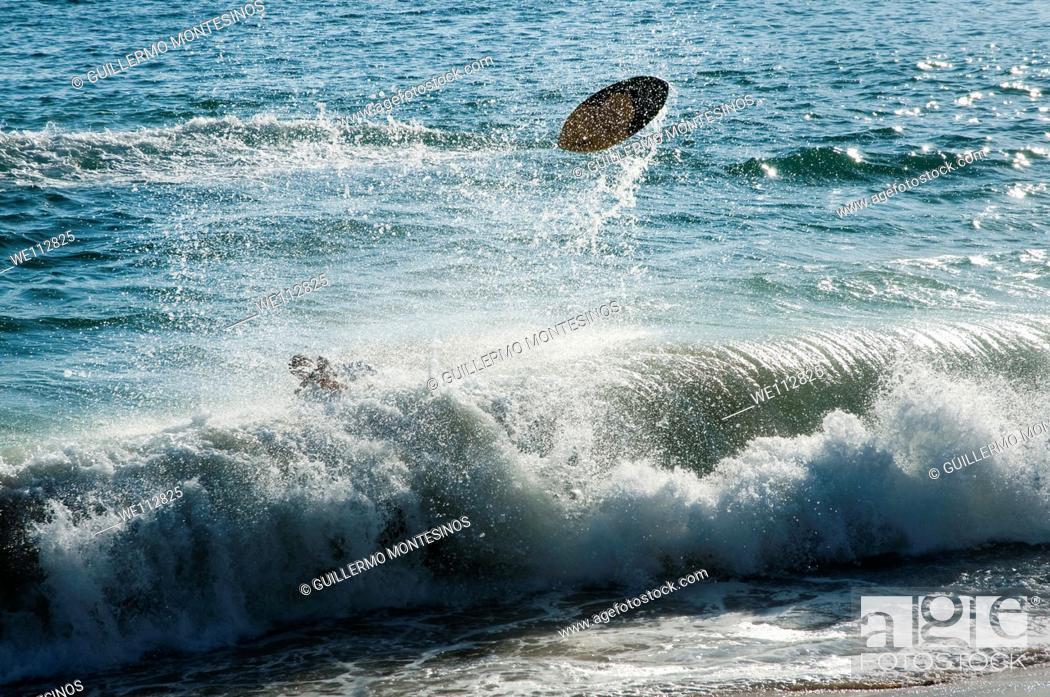Stock Photo: Surfers at La Condesa Beach Acapulco guerrero Mexico.
