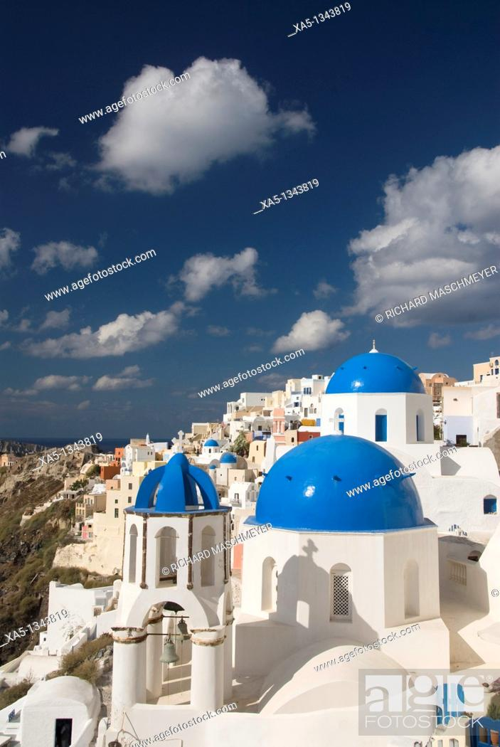 Stock Photo: Greek Othodox Church with bell tower, Oia, Santorini, Greece.