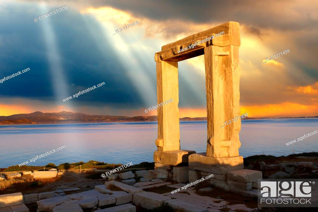 Stock Photo: Doorway of the ruins of the Temple of Apollo  Naxos, Greek Cyclades Islands.