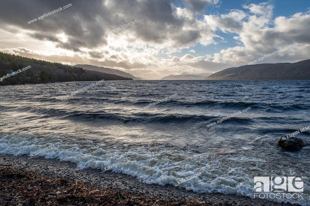Stock Photo: Waves break at coastline of Loch Ness in Scotland, United Kingdom.