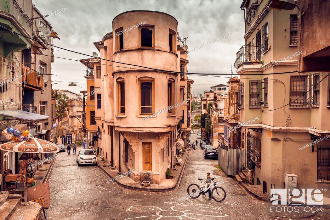 Stock Photo: Panoramic Vintage view of Traditional Street and houses at balat area. Street view in historical Balat district. Balat is popular attraction in ISTANBUL.
