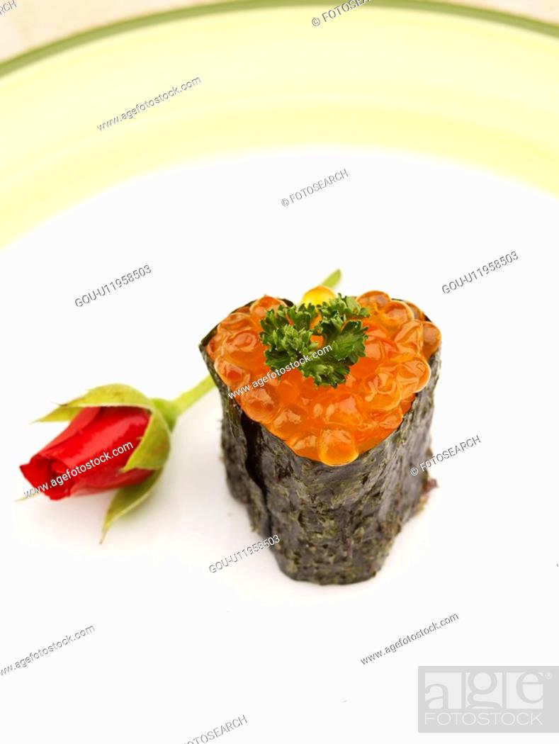 Stock Photo: roll sushi, plate, salmon roe, decoration, food styling, food, sushi plate.