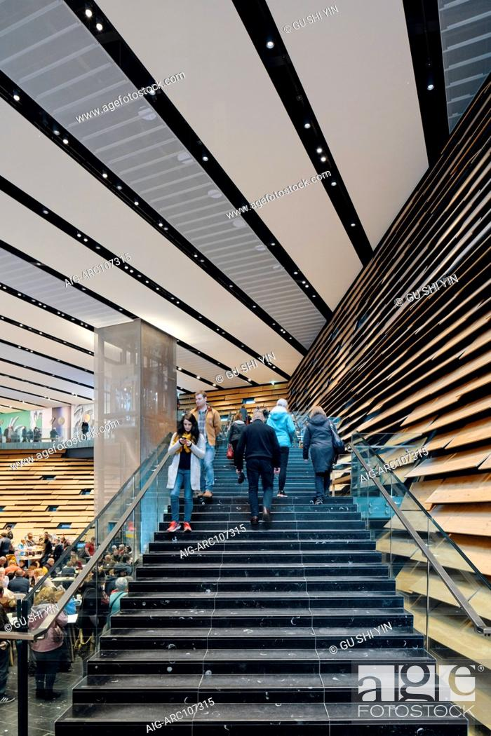 Stock Photo: Interior view of the V&A Dundee by Japanese architect Kengo Kuma, a design museum on the waterfront of Dundee, Scotland, UK.