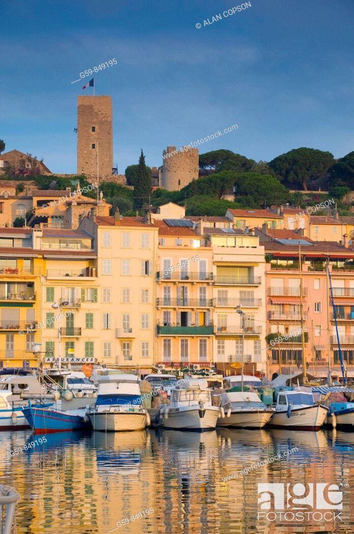 Stock Photo: France Provence-Alpes-Côte d'Azur Cannes Old Town Le Suquet Vieux Port Old Harbour.