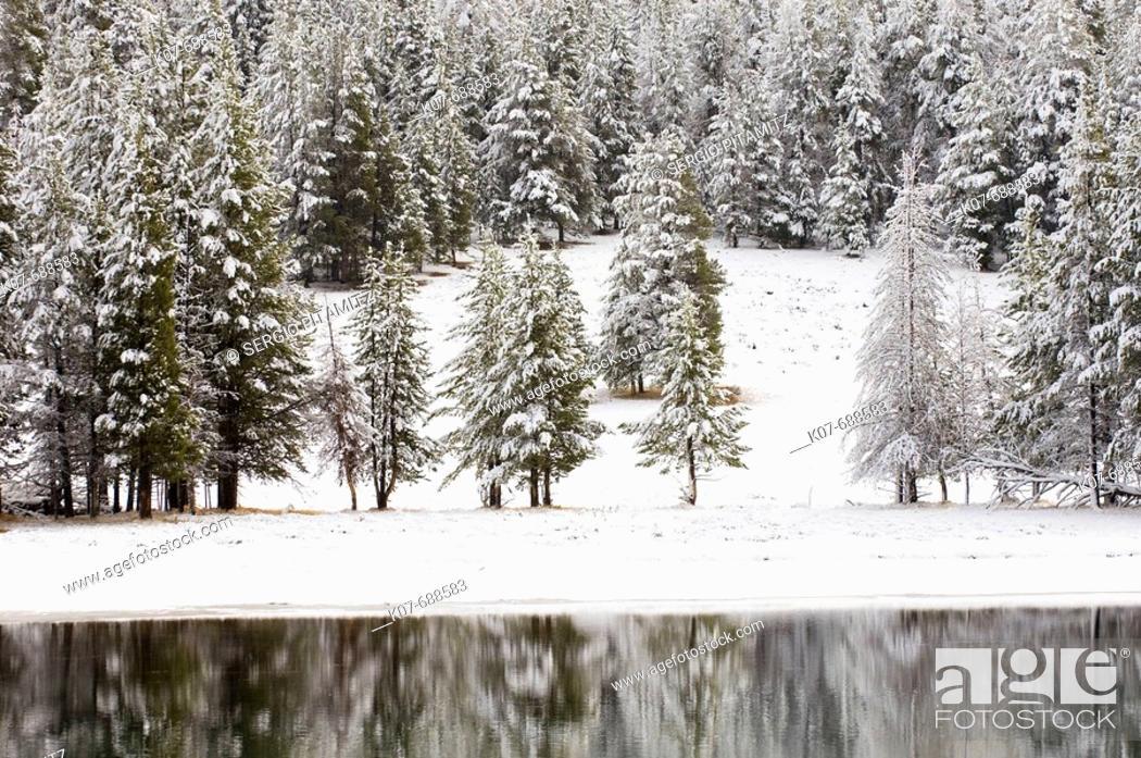 Stock Photo: Yellowstone River in winter, Yellowstone National Park, Wyoming, USA.