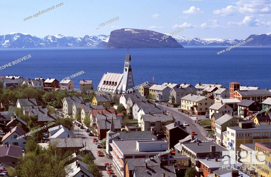 Stock Photo: Norway, Finnmark, Hammerfest, The Northermost city of the world.