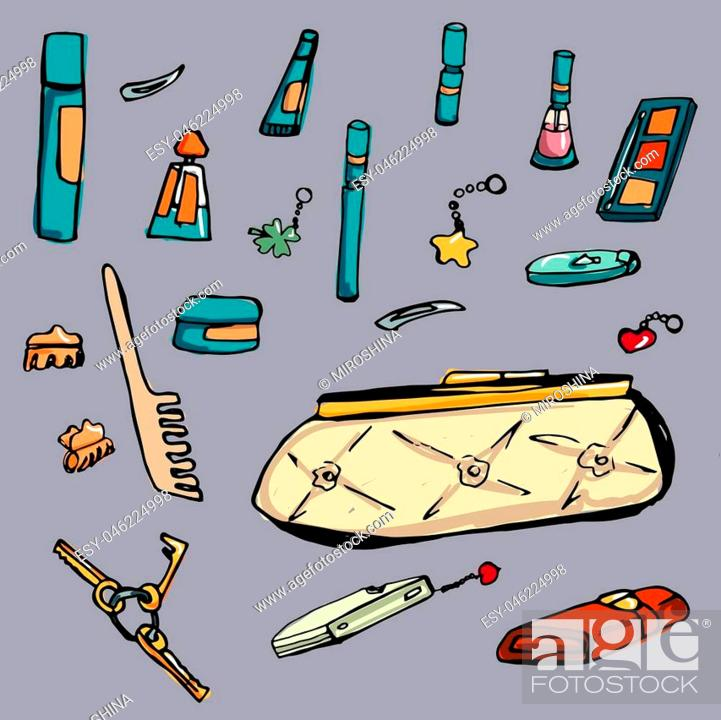 Stock Vector: Fashion set. various accessories, the contents of female's handbag or pocket . Illustration in hand drawing style.