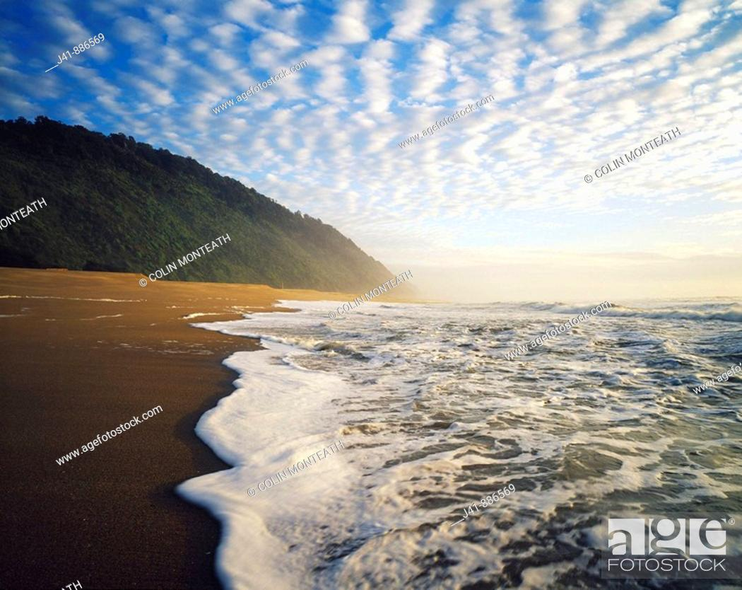 Stock Photo: Sunset near Kohaihai Bluff Kahurangi National Park New Zealand.