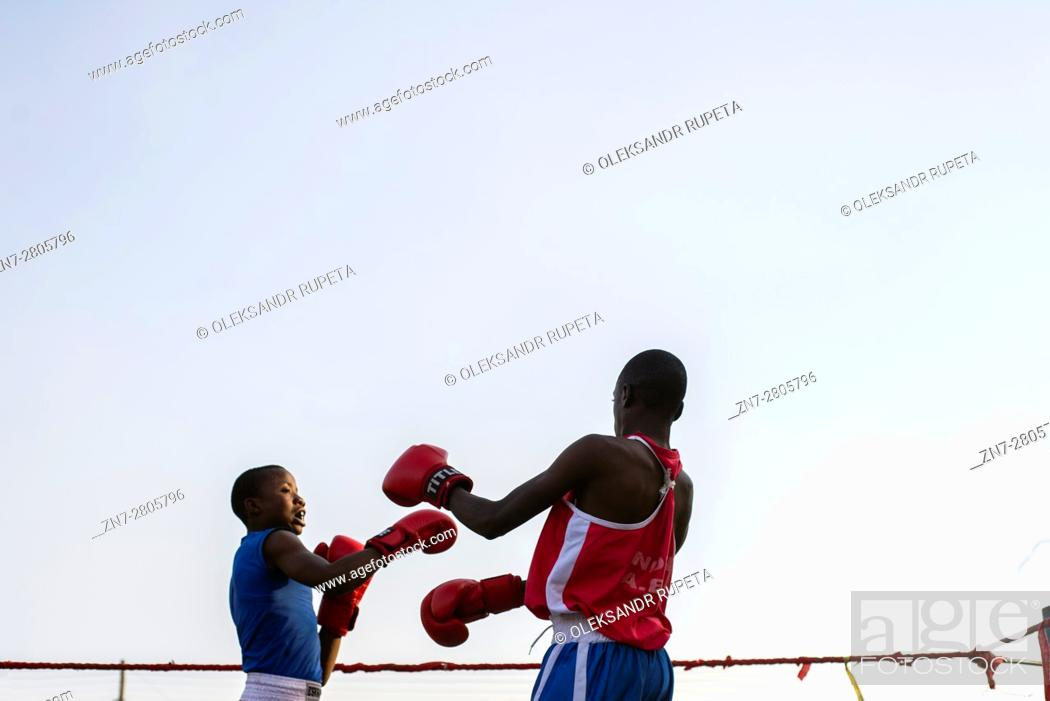 Stock Photo: Boxing competition in Ndola, Zambia.