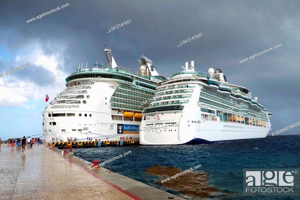 Stock Photo: Royal Caribbean Cruise Ships Cozumel Mexico Brilliance of the Seas.