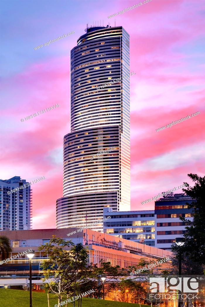 Stock Photo: Miami tower at dusk.