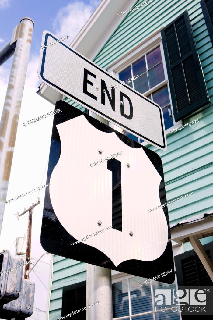Stock Photo: end of the road number 1, Key West, Florida, USA.
