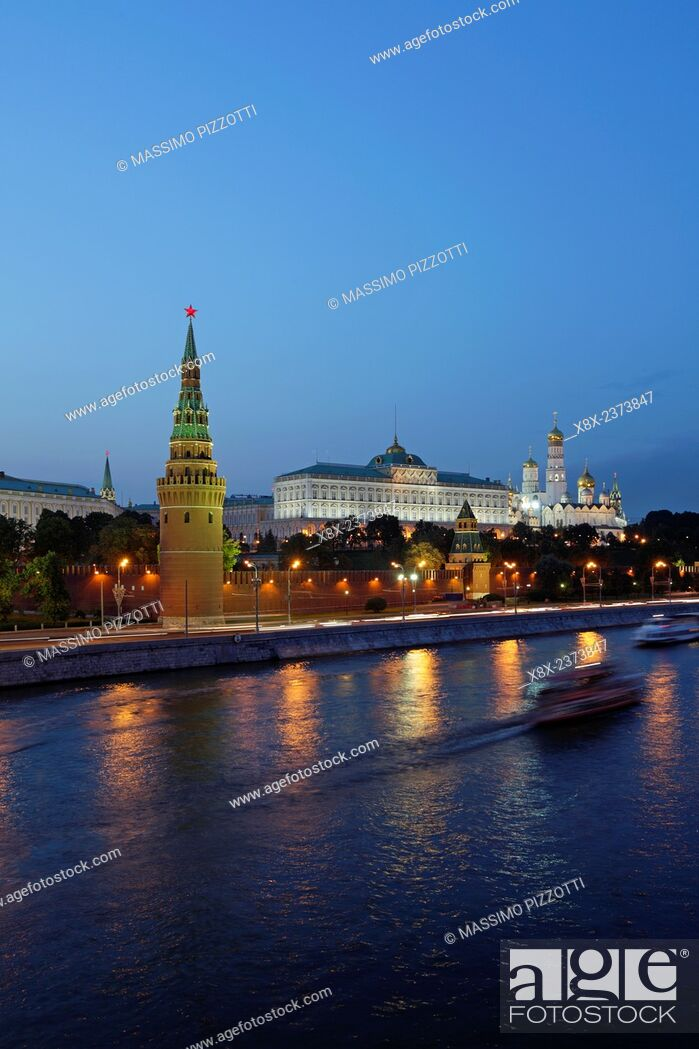 Stock Photo: View of the Kremlin from the Moscow River, Moscow, Russia.