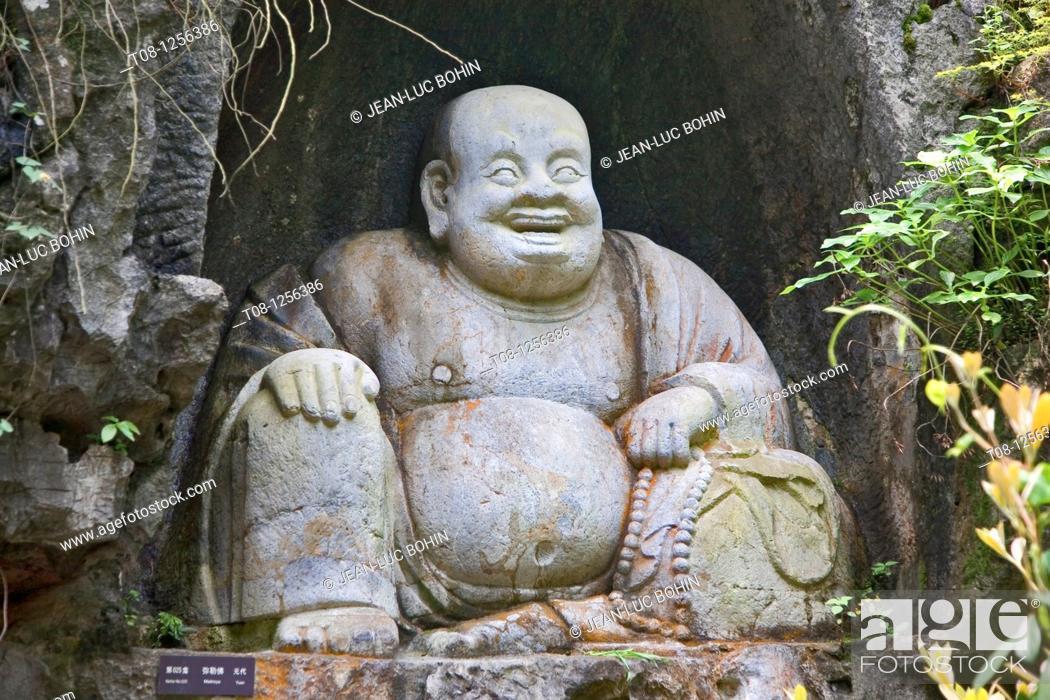 Stock Photo: China, Hangzhou, temple of solitude: Stone Buddha.