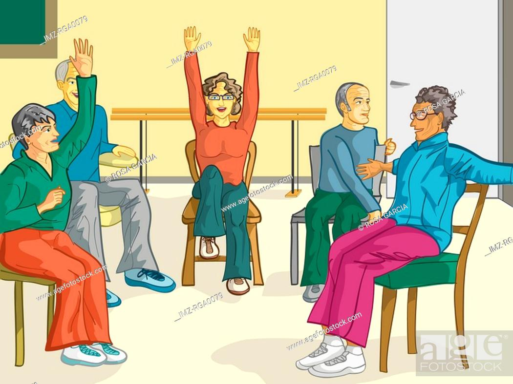 Stock Photo: A group of senior citizens doing fitness exercises in their chairs.