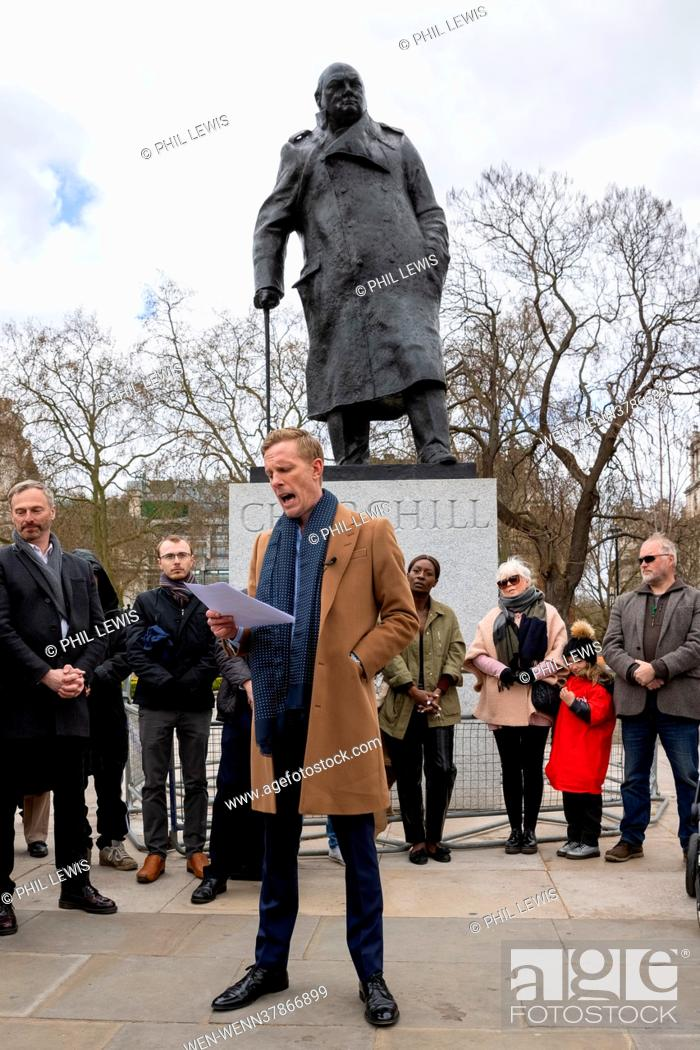 Stock Photo: Laurence Fox launches his London Mayoral Election Manifesto in Parliament Square Featuring: Laurence Fox Where: London, United Kingdom When: 07 Apr 2021 Credit:.