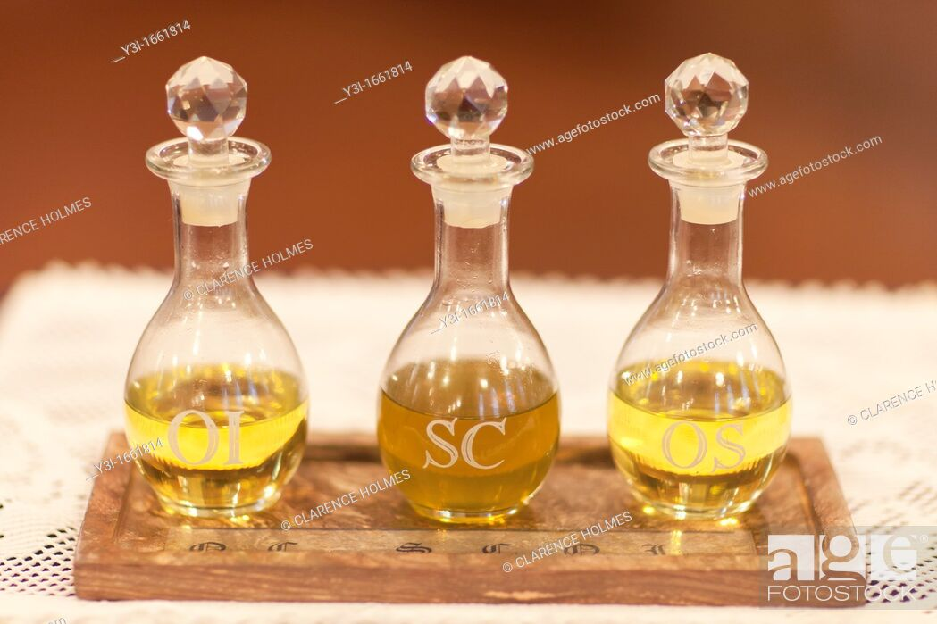 Stock Photo: The Oil of the Infirm Oleum Infirmorum, the Holy Chrism Sacrum Chrisma, and the Oil of Catechumens Oleum Catechumenorum or Oleum Sanctorum.