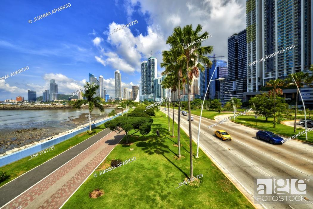 Stock Photo: Cinta Costera, Panama City, Republic of Panama, Central America, America.