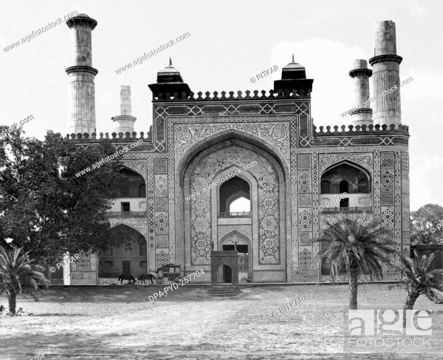 Stock Photo: old vintage lantern slide of entrance to Akbar Tomb complex, sikandra, Agra, uttar pradesh, India, Asia.