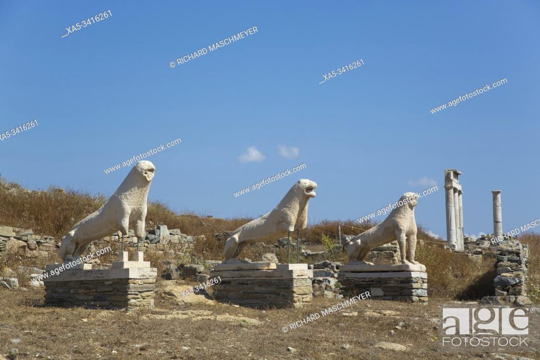 Stock Photo: Naxian Lions, Delos Island, UNESCO World Heritage Site, Cyclades Group, Greece.