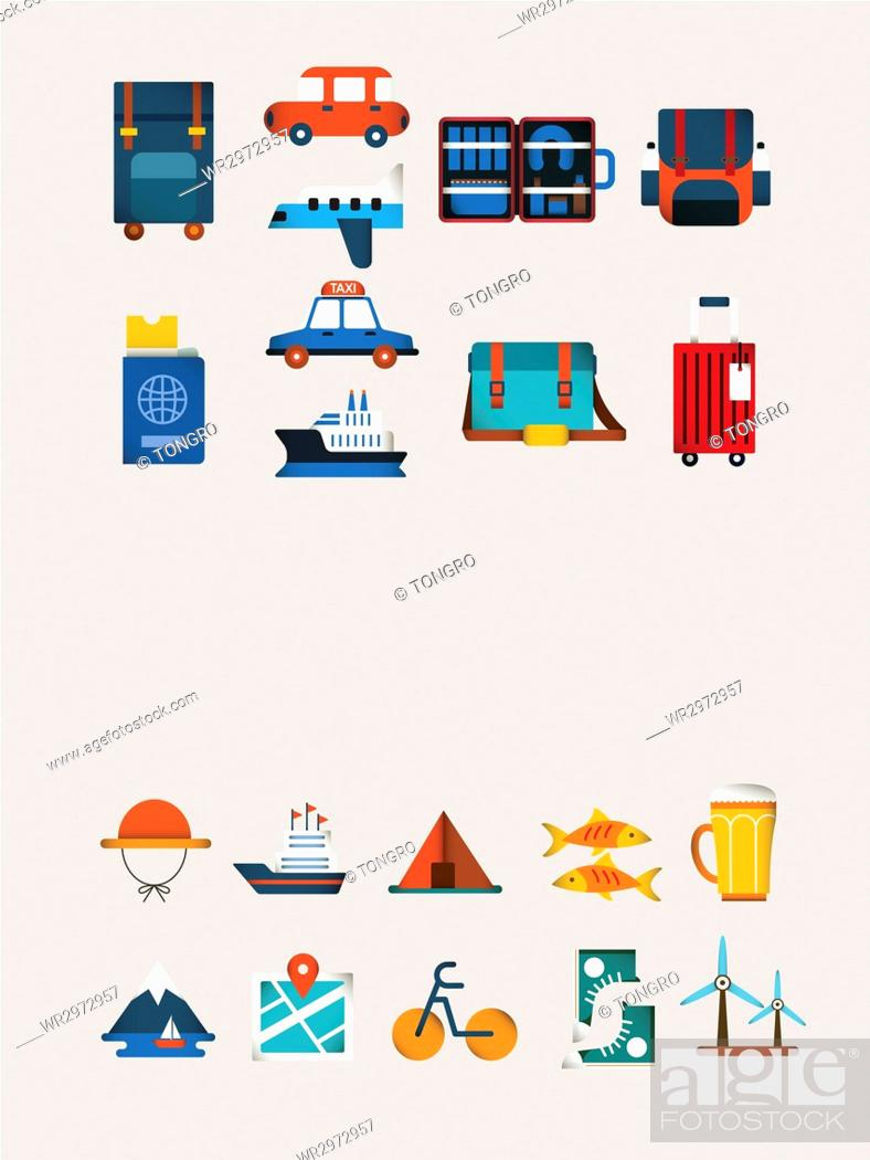 Stock Photo: Icon set related to travel and map.