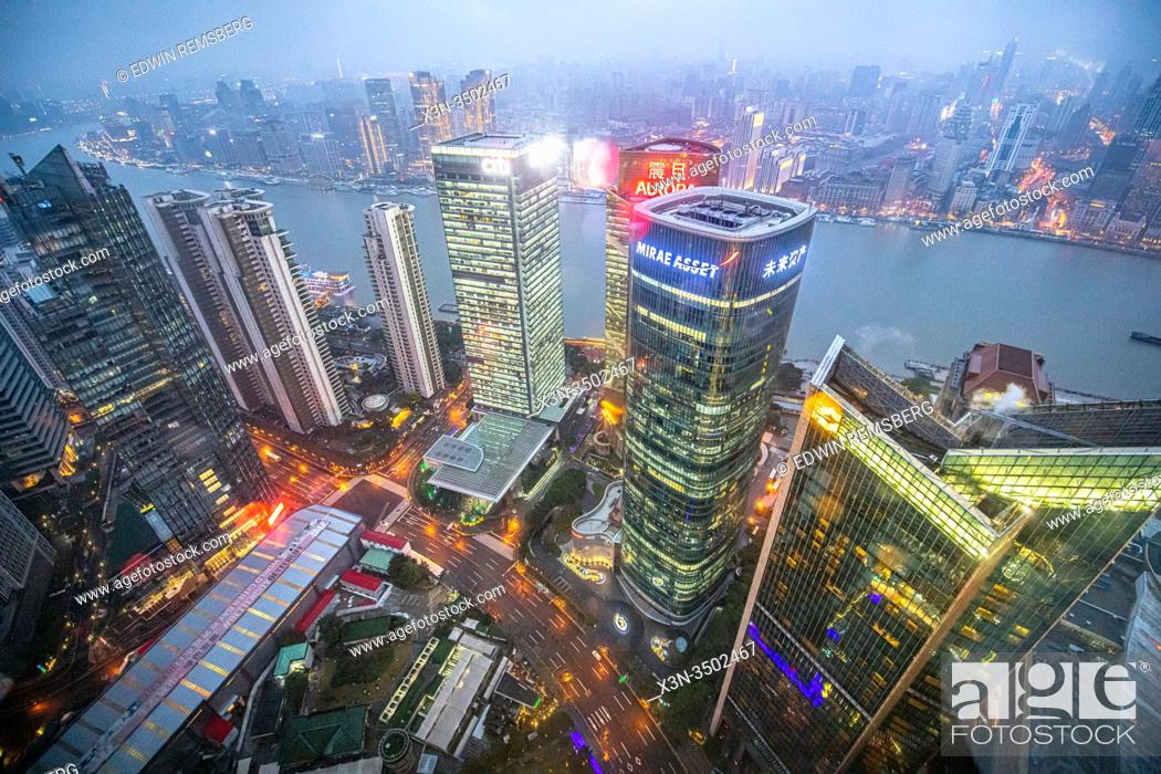 Stock Photo: An overhead view of the cityscape in Shanghai, China.
