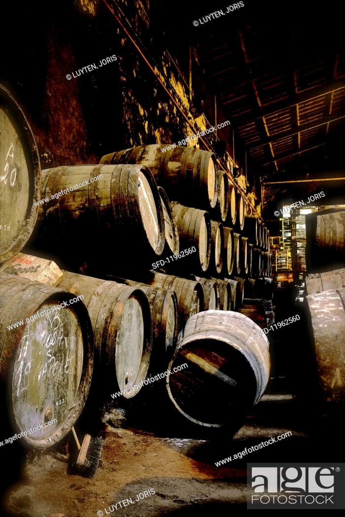 Stock Photo: Port wine in wooden barrels in the Niepoort winery, Portugal.