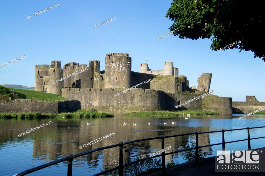 Stock Photo: Caerphilly Castle; Wales.