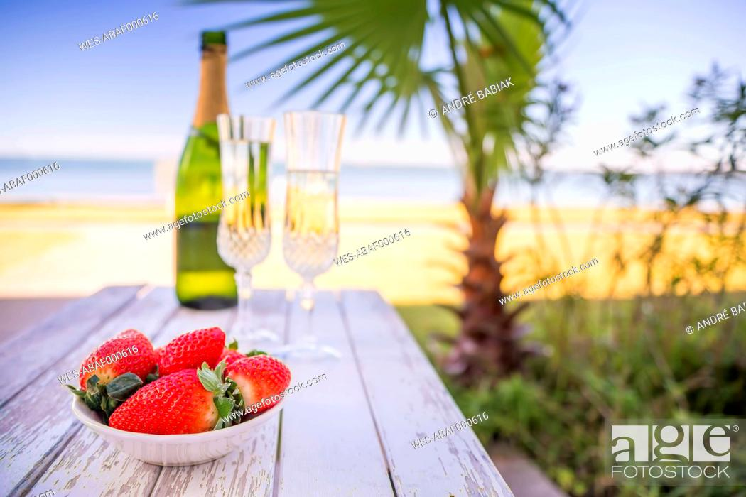Stock Photo: USA, Texas, Bowl of strawberries and champagne on beach with palm tree.