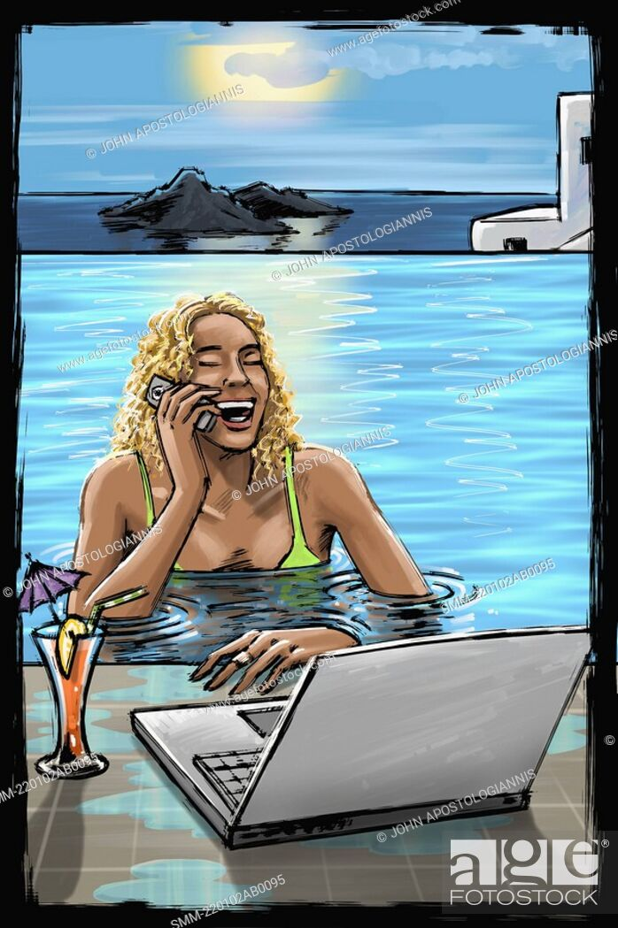 Stock Photo: Woman in pool on phone with laptop.