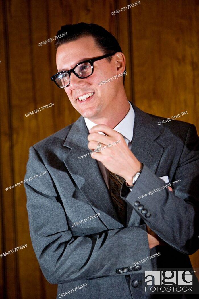 Stock Photo: Vintage portrait of mid adult businessman.