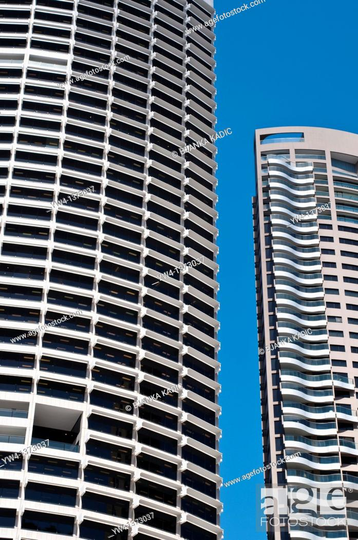 Stock Photo: Modern high rise buildings on George Street, Central Business District, Sydney, NSW, Australia.