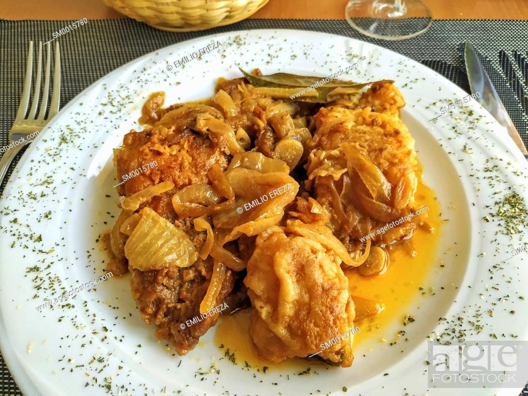 Stock Photo: Breaded codfish with vinaigrette.