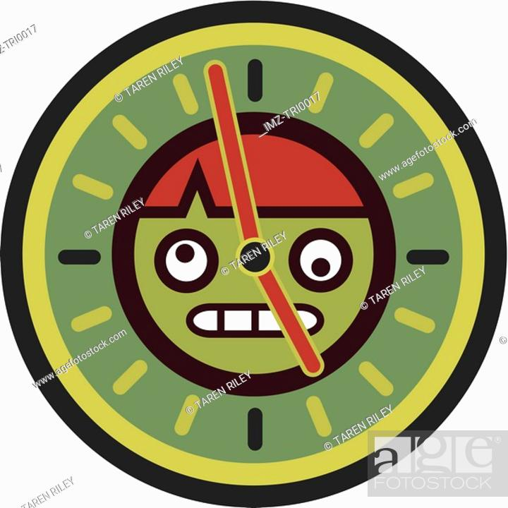 Stock Photo: Stressed out man in a clock.